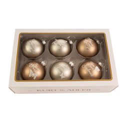 Kurt Adler 80MM Country Home Sentiment Glass Ball Ornaments, 6-Piece Box