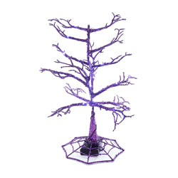 "Kurt Adler 14"" Battery-Operated Halloween Flashing Purple LED Christmas Tree"