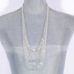 Clear Crystal 3 Layer Necklace With Pave Magnetic Clasp