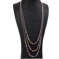 Purple Crystal 3 Layer Necklace With Pave Magnetic Clasp