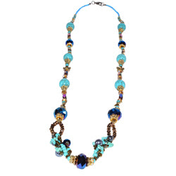 Blue Crystal And Turquoise Necklace