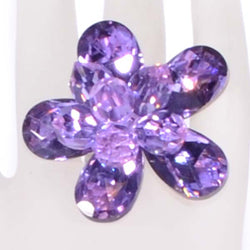 Violet Expandable Crystal Flower Ring