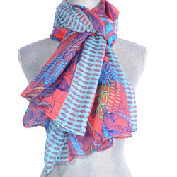 Pink And Blue Parrot Design Scarf