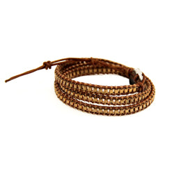 Gold 3 Row Wrap Bracelet