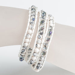 White and Gray 3 Row Beaded Wrap Bracelet