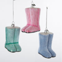 Noble Gems Pastel Pink/Green/Blue  Fashion Boot Glass Ornaments, 3 Assorted  (Set Of 12)