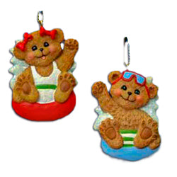 Personalized Boy and Girl Bear Christmas Ornaments (Set of 24)