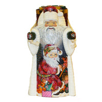 "Kurt Adler 11.5"" Czar Treasures Wooden Santa with Backpack"