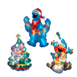Sesame Street 2-D Lighted Window Decor 3 Assorted (Set Of 12)