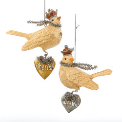 Dove With Heart Dangle Ornaments (Set Of 12)