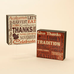 Kurt Adler Thanksgiving Table Blocks (Set Of 6)