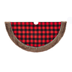 "Kurt Adler 48"" Fabric Plaid Tree skirt with Faux Fur Trim"