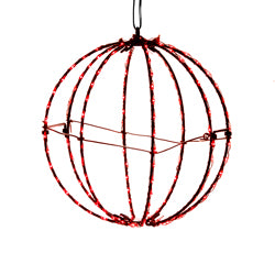 "Kurt Adler 6"" Red LED Foldable Metal Sphere"