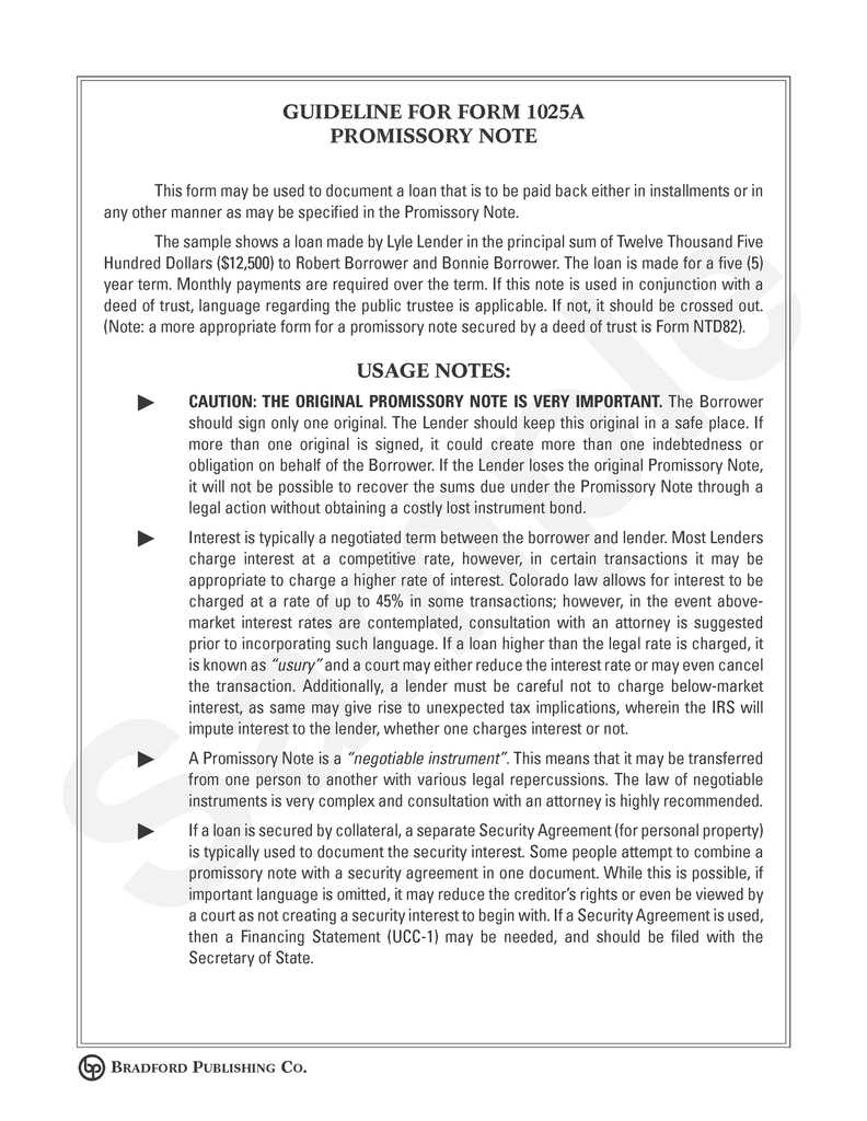 Guideline to Promissory Note (space for description of payments)