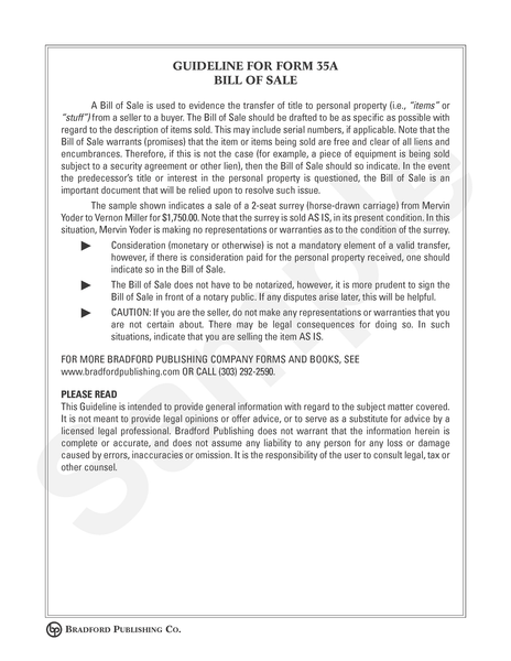 Guideline to Bill of Sale