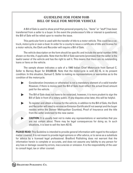 Guideline to Bill of Sale, Motor Vehicle