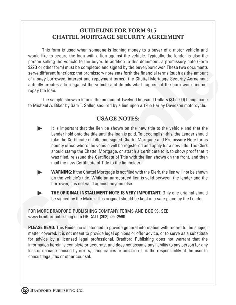 Guideline to Chattel Mortgage and Security Agreement Motor – Security Agreement