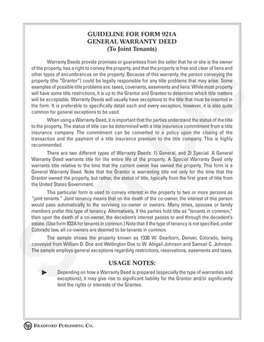 special warranty deed colorado Warranty Deed (to Joint Tenants) – Bradford Publishing