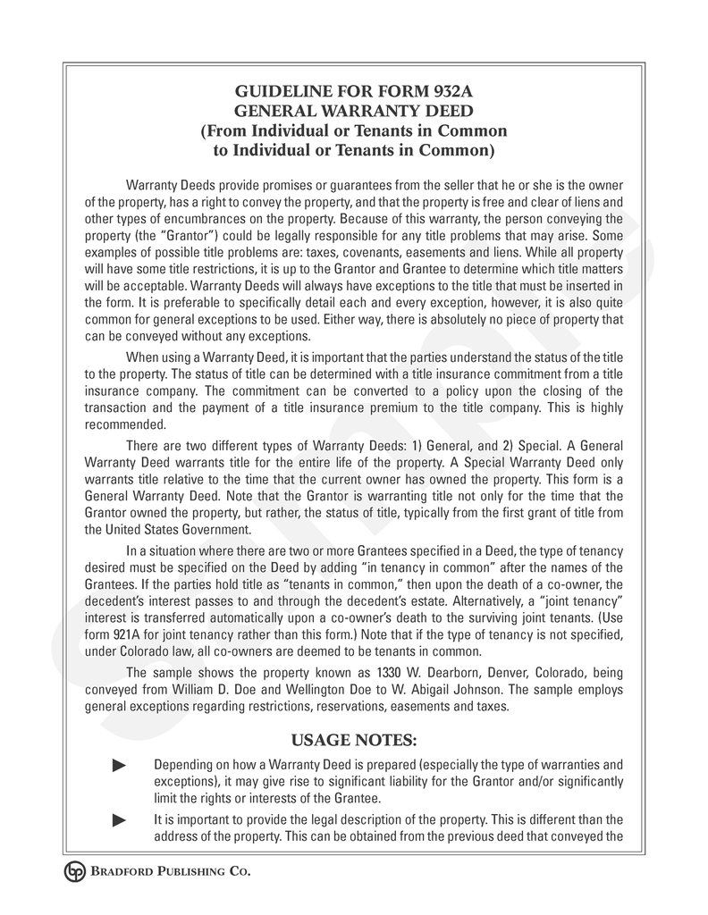 Guideline to Warranty Deed (to Individuals or Tenants in Common ...