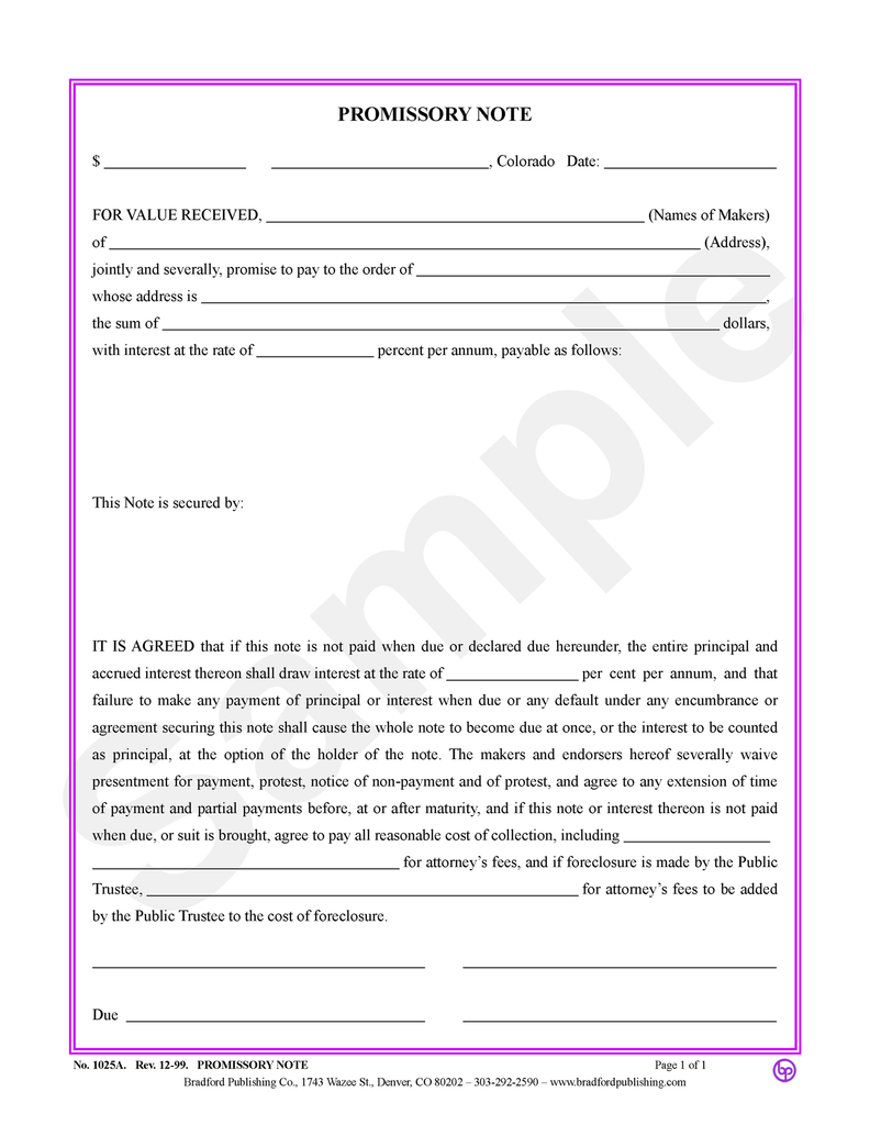 Promissory Note (space for description of payments)