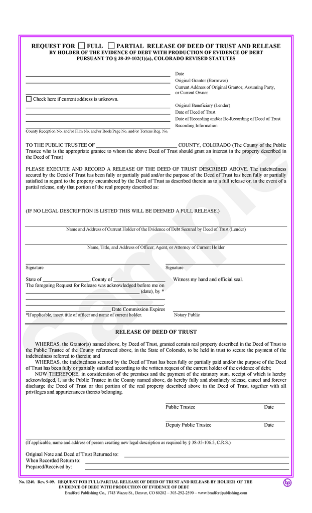 Request for FullPartial Release of Deed of Trust Release with – Deed of Release Form