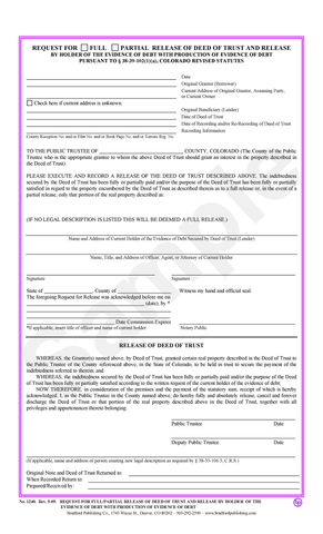 Request for Full/Partial Release of Deed of Trust & Release with Production of Evidence of Debt