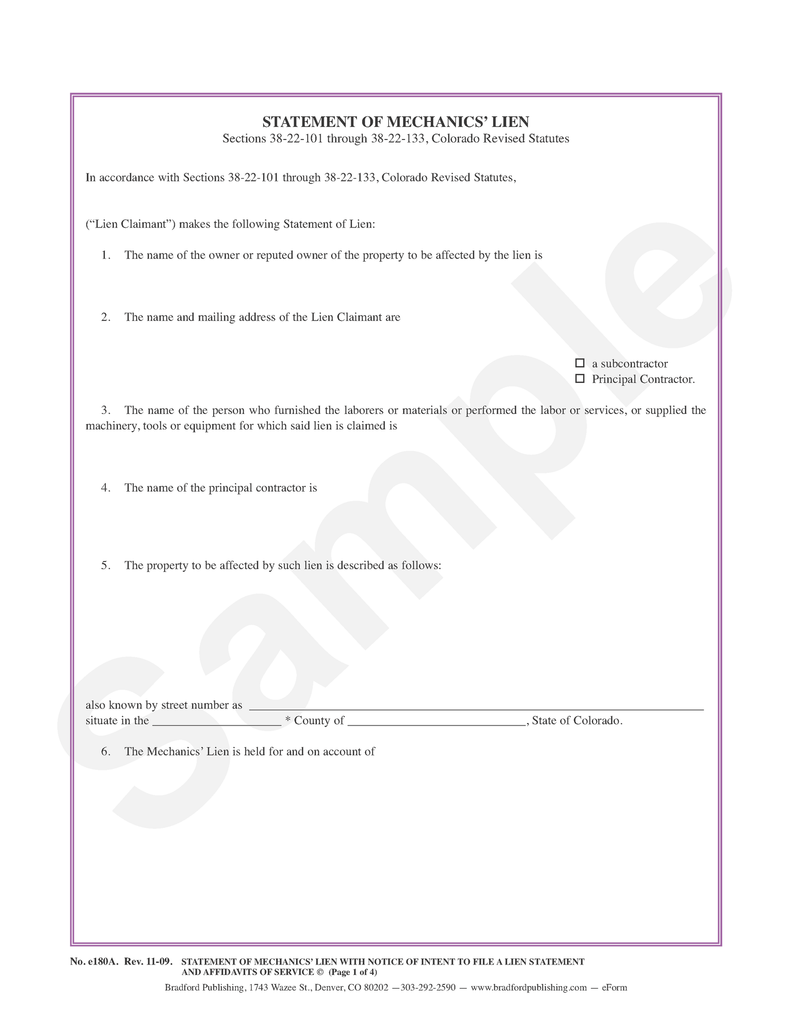 Statement of Mechanics' Lien with Notice of Intent to File ... on business lien letter sample, mechanics lien form, mechanics lien waiver sample,