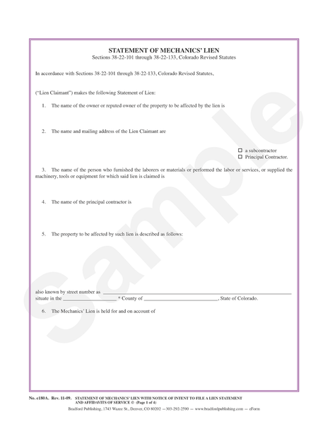 Statement of Mechanics' Lien with Notice of Intent to File