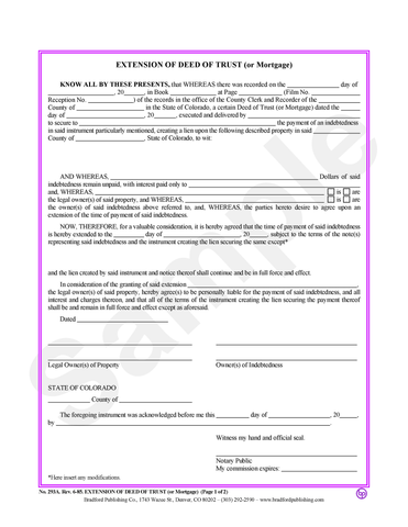 Extension of Deed of Trust or Mortgage