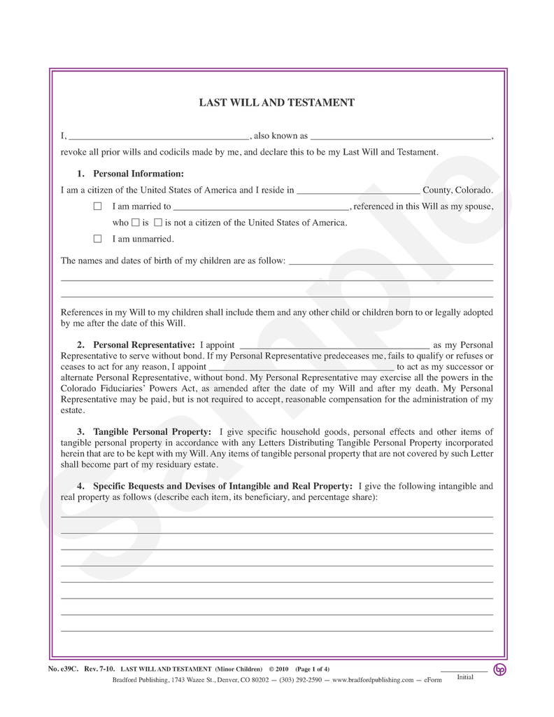 Last Will and Testament (with minor children)