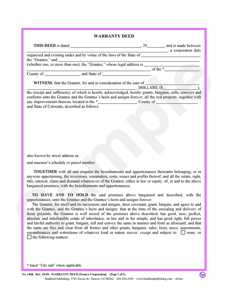 Warranty Deed (from a Corporation)