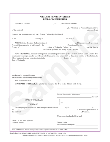 Personal Representative's Deed of Distribution