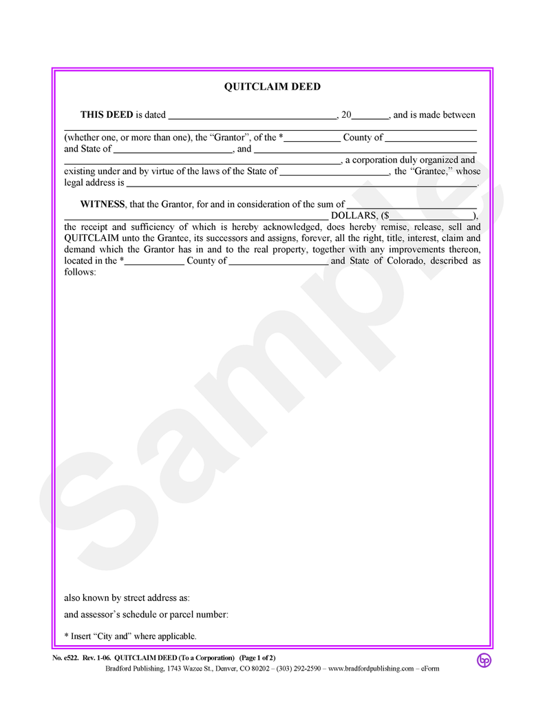 Quitclaim Deed, to a Corporation