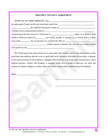 Month-to-Month Rental Agreement and Application – Bradford Publishing