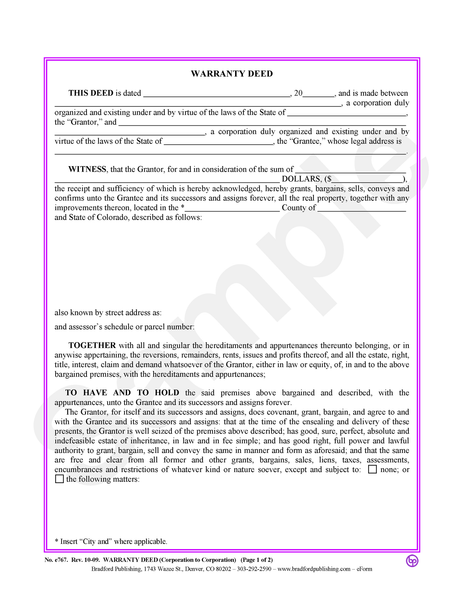 Warranty Deed, Corporation to Corporation