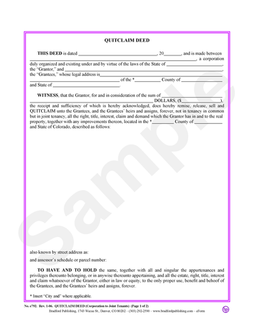 Quitclaim Deed (Corporation to Joint Tenants)