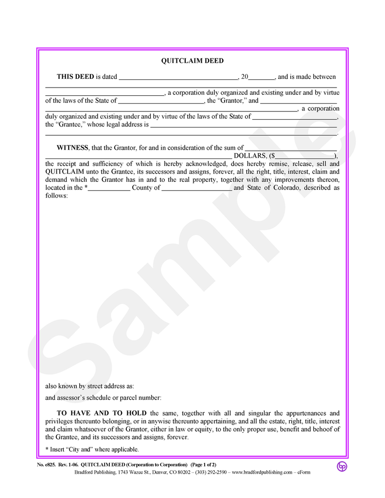 Quitclaim Deed (Corporation to Corporation)