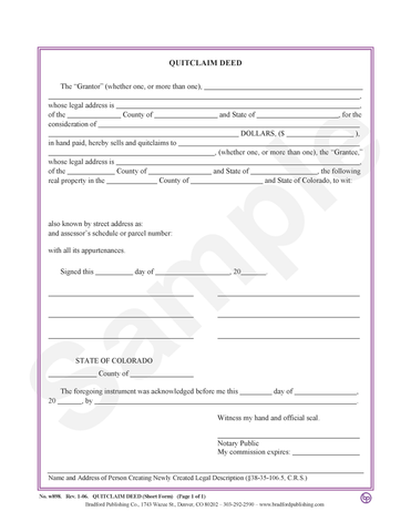 Quitclaim Deed, Statutory Short Form