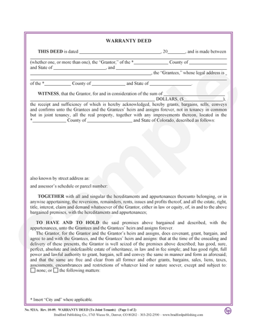special warranty deed colorado Warranty Deeds – Bradford Publishing