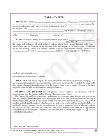 Warranty Deed (Corporation to Joint Tenants)