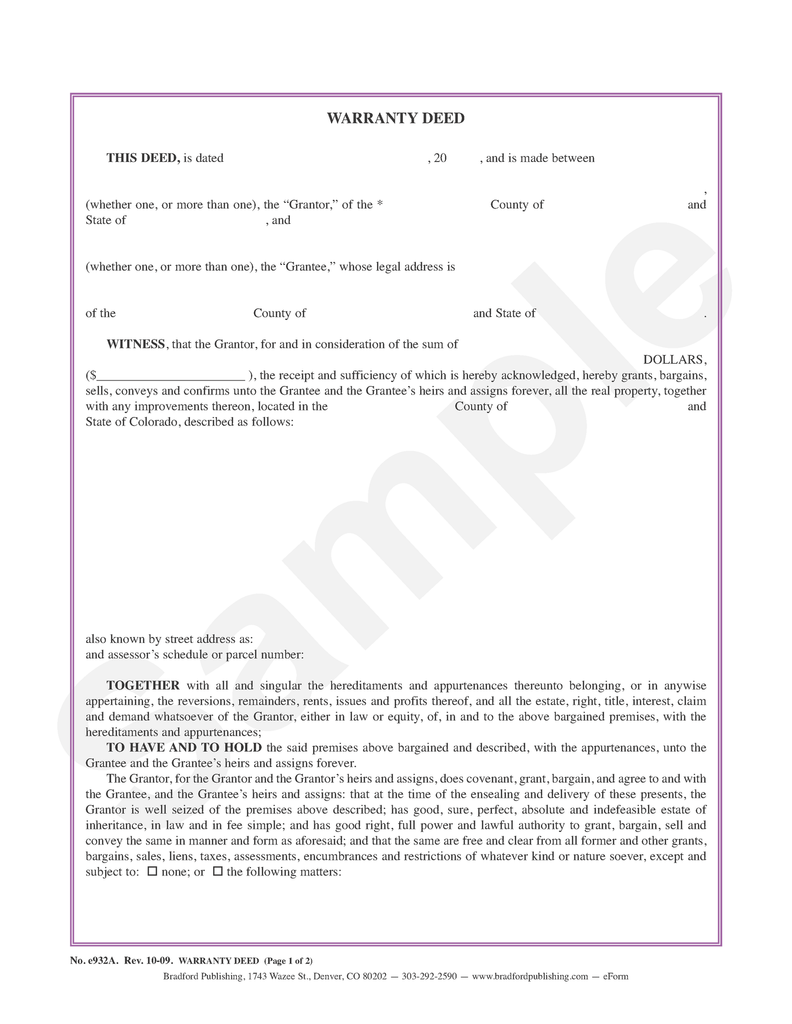 Warranty Deed to Individuals or Tenants in Common Bradford – General Warranty Deed