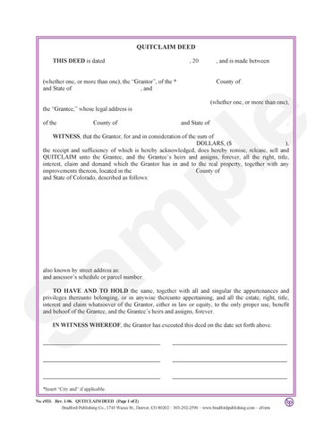 Quitclaim Deed (to Individuals or Tenants in Common)