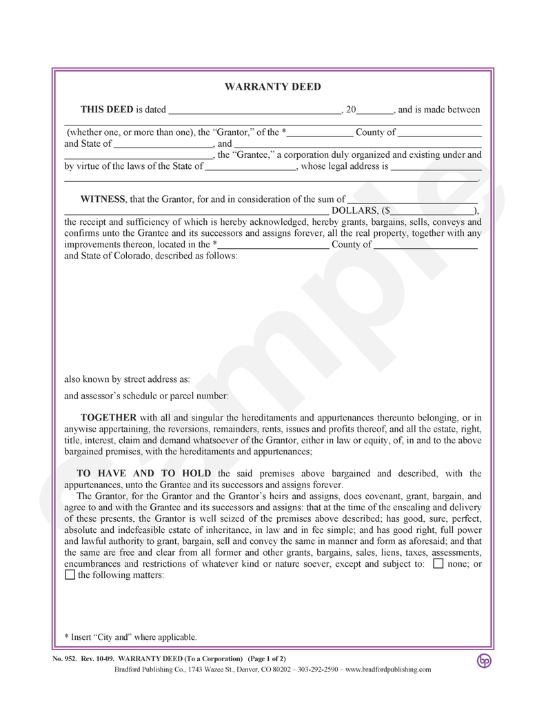 Warranty Deed, to a Corporation