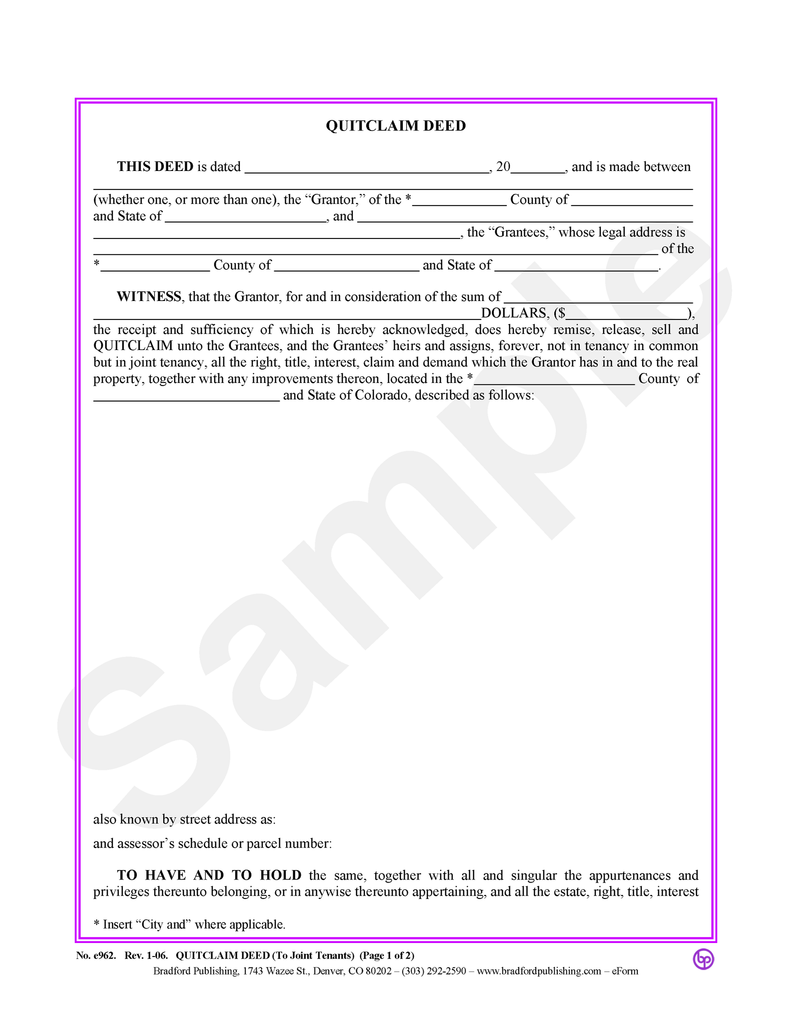 Quitclaim Deed, to Joint Tenants