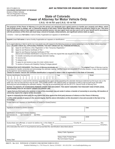 vehicle forms bradford publishing