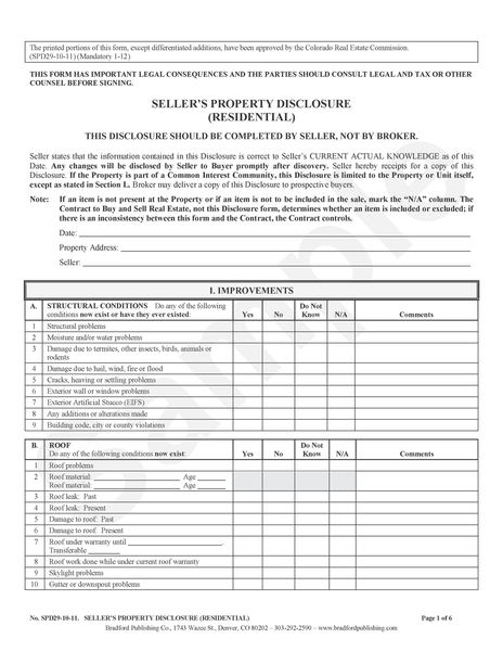 Seller's Property Disclosure (Residential)