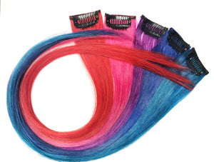 Clip In Extensions: Multi Coloured Clip-In Pieces Set