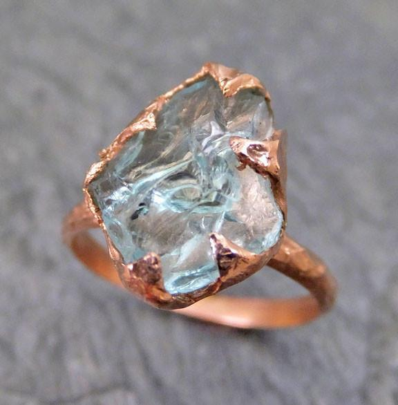 Raw Uncut Aquamarine Ring Solid 14K Rose Gold Ring wedding engagement Rough Gemstone Ring Statement Ring Stacking Ring byAngeline - Gemstone ring by Angeline