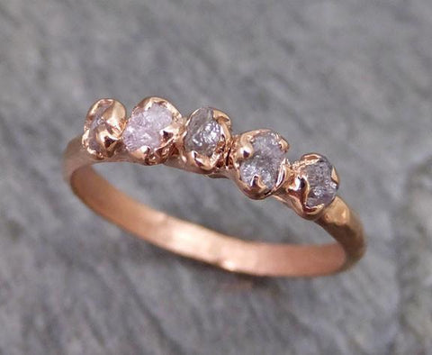 Raw Pink Diamonds Rose Gold Ring Wedding Band Custom One Of a Kind Gemstone Ring Rough Diamond Ring - Gemstone ring by Angeline
