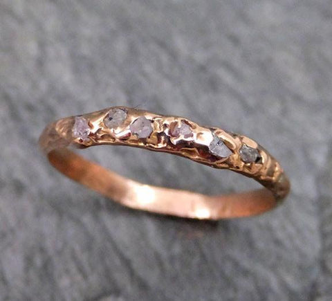 Raw Rough Uncut Conflict Free Pink Diamond Wedding Band 14k Rose Gold Wedding Ring - Gemstone ring by Angeline